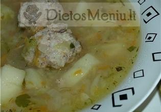 Kopūstų sriuba su kiaulienos kukuliais