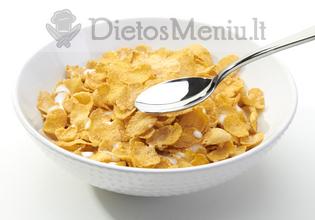 Kukurūzų dribsniai su pienu
